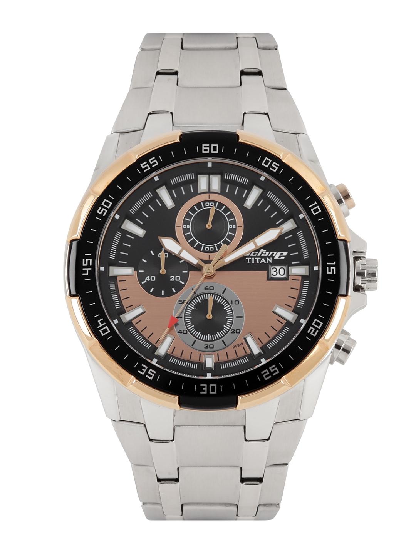 bf7083959e Titan Octane Men Black & Rose Gold-Toned Dial Chronograph Watch 90044KM04