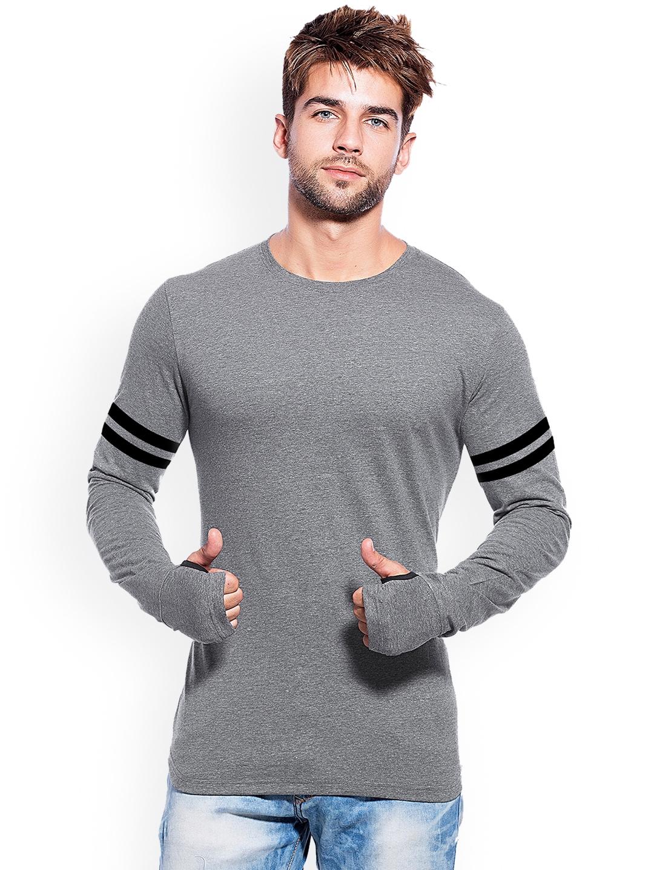 Maniac Men Grey Solid Round Neck T shirt