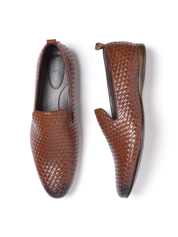 b7b0b6a4c8ed0d Buy INVICTUS Men Brown Basket Weave Semiformal Slip Ons - Formal ...