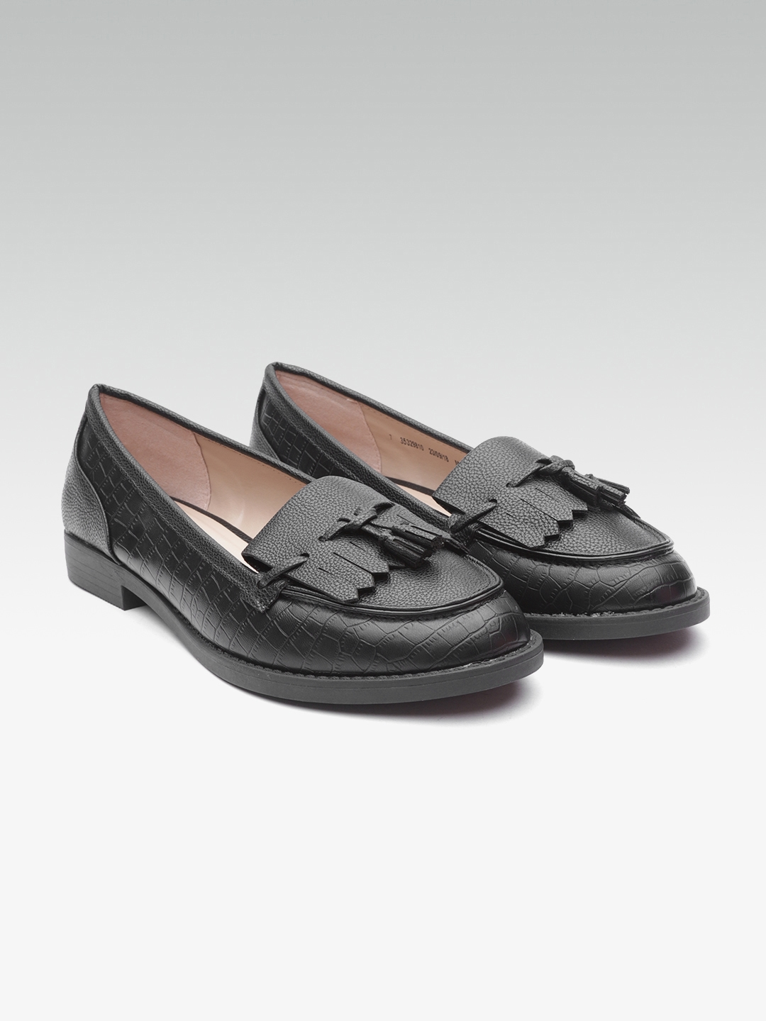 3bcd80499 Buy DOROTHY PERKINS Women Black Croc Textured Loafers - Casual Shoes ...