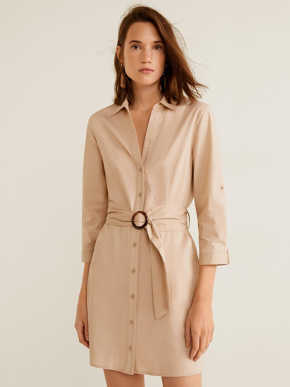 26652cf9ce1 Buy MANGO Women Beige Solid Shirt Dress - Dresses for Women 8676431 ...