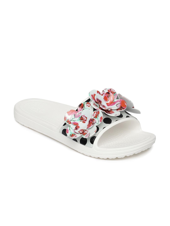 a334b11dc287 Buy Crocs Women Multicoloured Printed Sliders - Flip Flops for Women ...