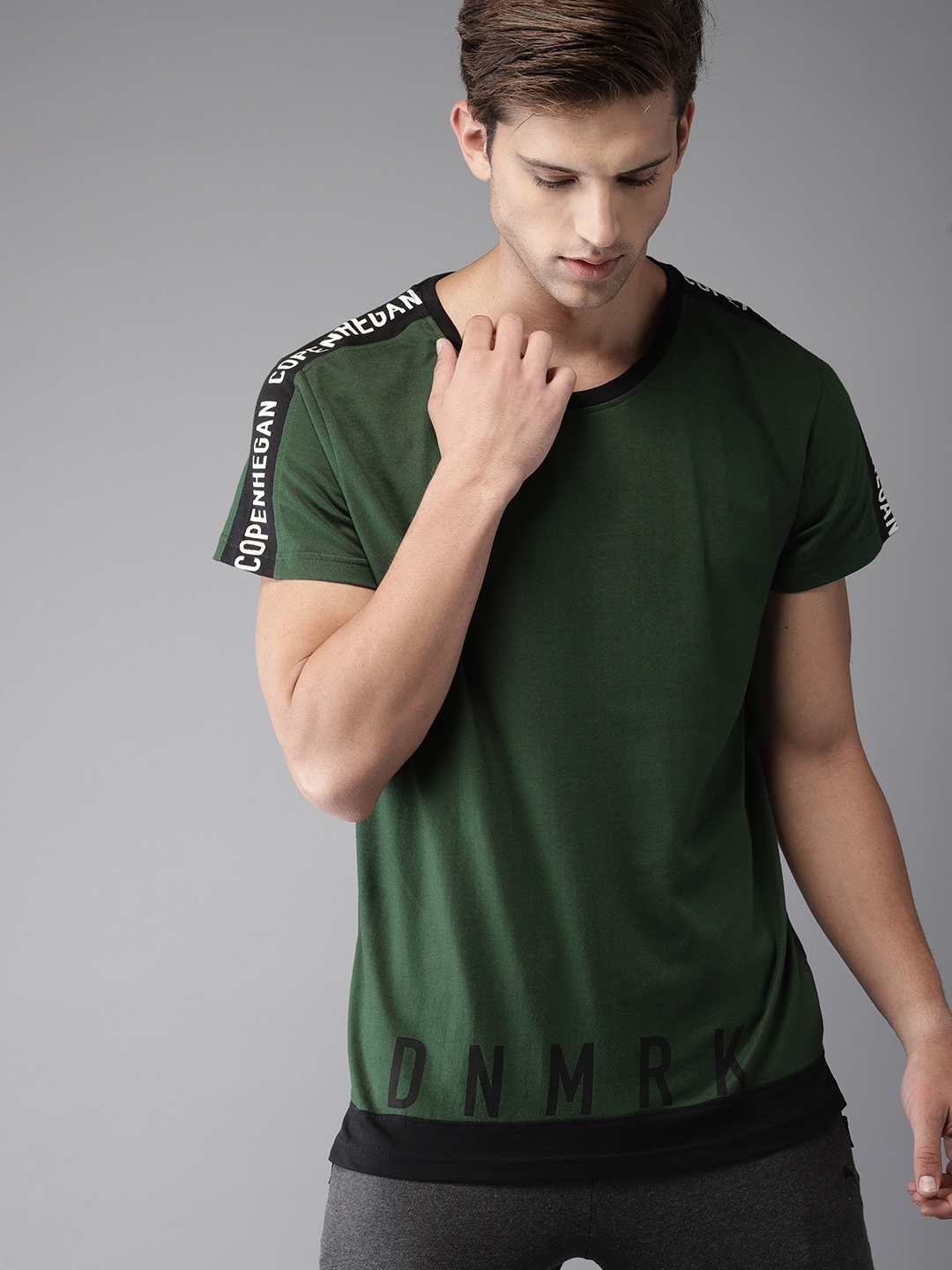 e2ee244dc6b6 Buy Moda Rapido Men Green Solid Round Neck T Shirt - Tshirts for Men ...