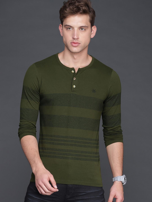 81e5e5b1e Buy WROGN Men Olive Green   Navy Blue Slim Fit Striped Henley Neck T ...