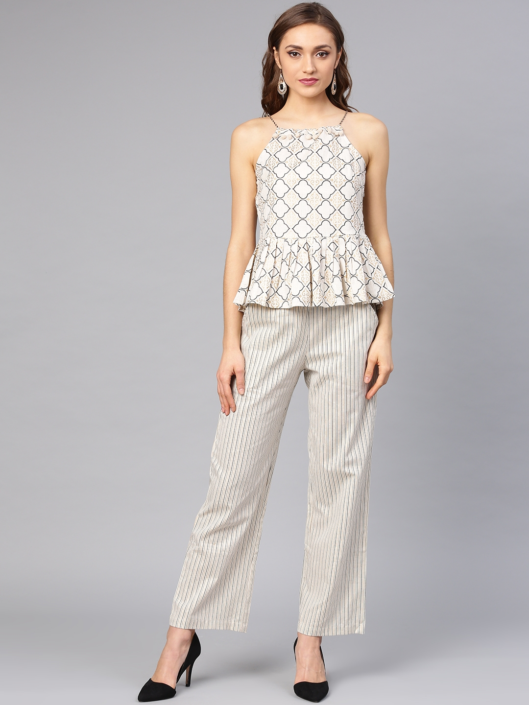 7f1700eda26 Buy Ishin Women Off White & Black Printed Top With Palazzos ...