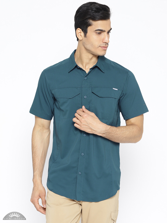 b1f9e0d4855 Buy Columbia Men Teal Green Self Checked Silver Ridge Lite Shirt ...