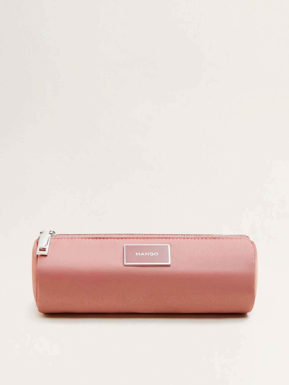 MANGO Women Dusty Pink Solid Cosmetic Pouch