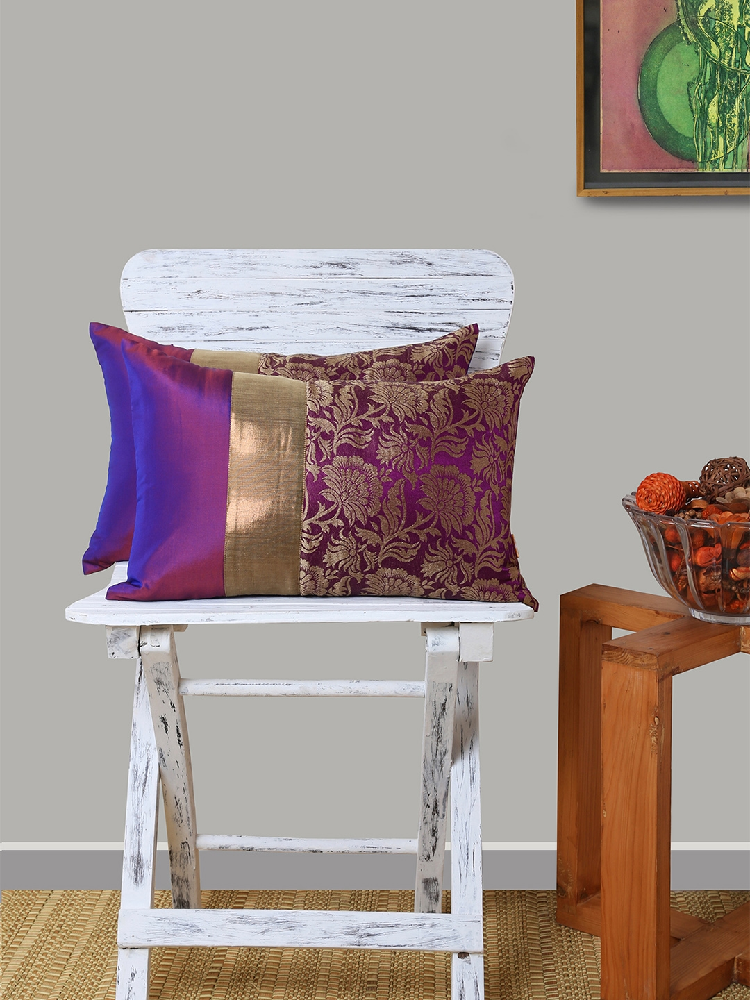 Ans Purple Set Of 2 Floral Rectangle Cushion Covers