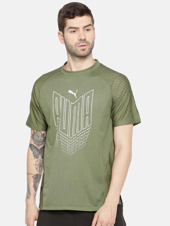 Puma Men Olive Green Printed DryCell VENT PUMA T Shirt