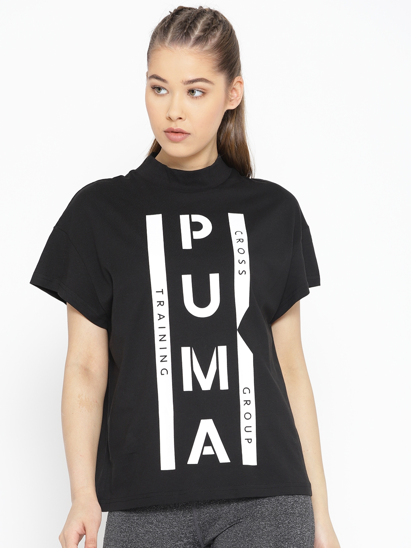 db43bf34176 Puma Women Black & White Printed XTG Graphic High Neck Training T-shirt