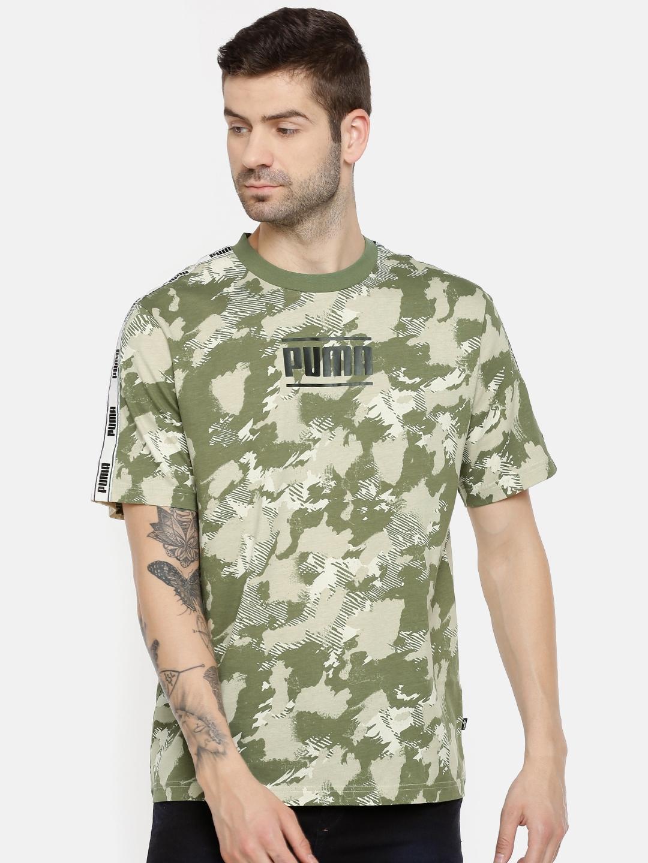 c0735a61706 Buy Puma Men Olive Green   Beige Printed Camo Pack AOP Round Neck T ...