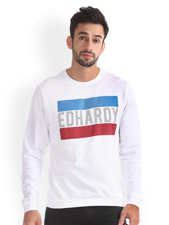 Ed Hardy Men White Printed Sweatshirt