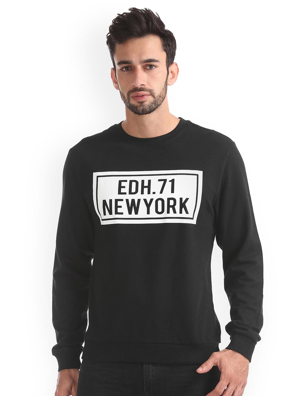 Ed Hardy Men Black   White Printed Sweatshirt