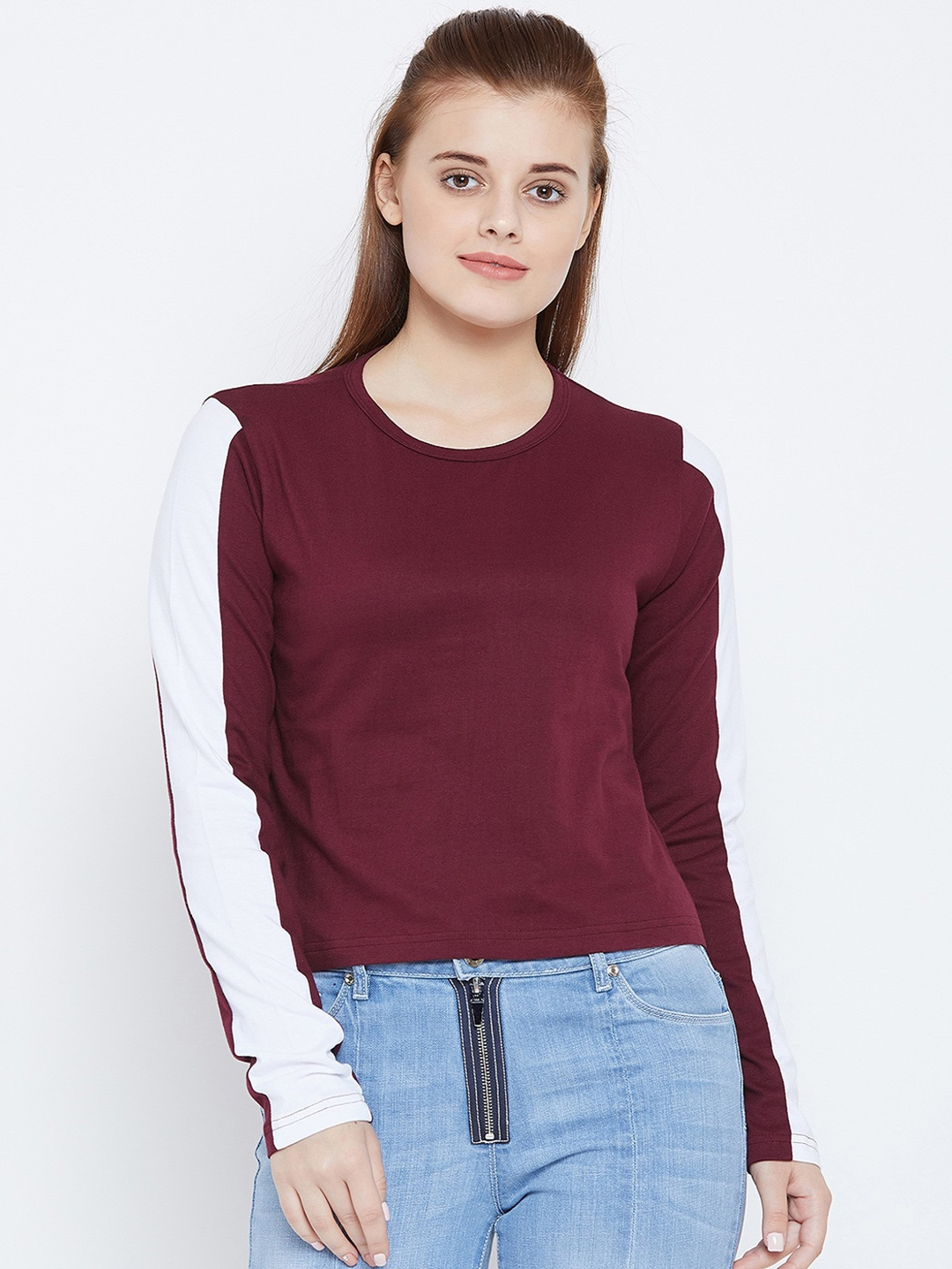 The Dry State Women Maroon Solid Round Neck T shirt