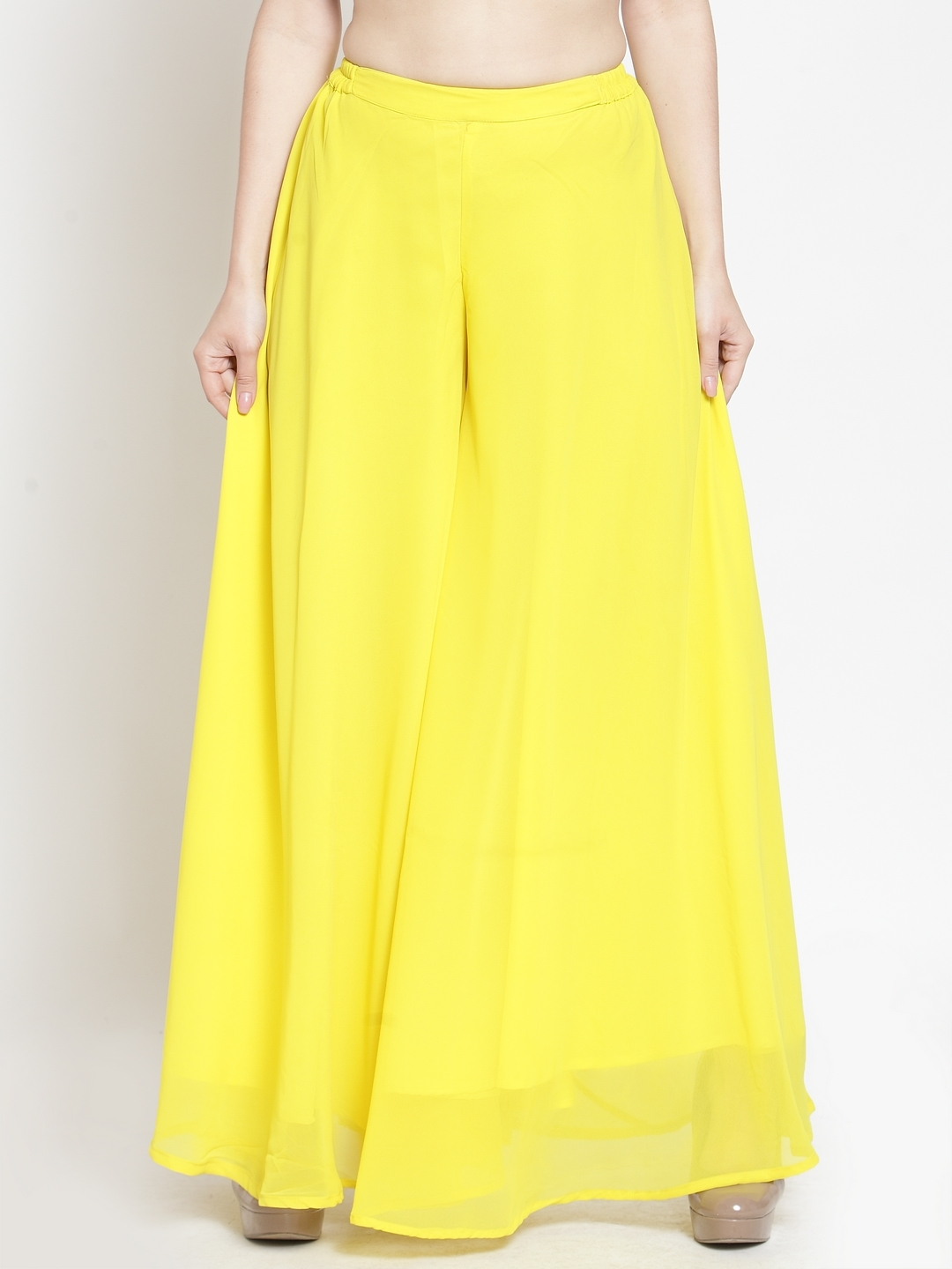 Just Wow Women Yellow Solid Flared Palazzos