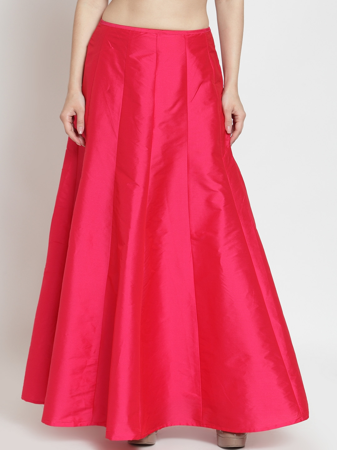Just Wow Women Pink Solid A Line Maxi Skirt