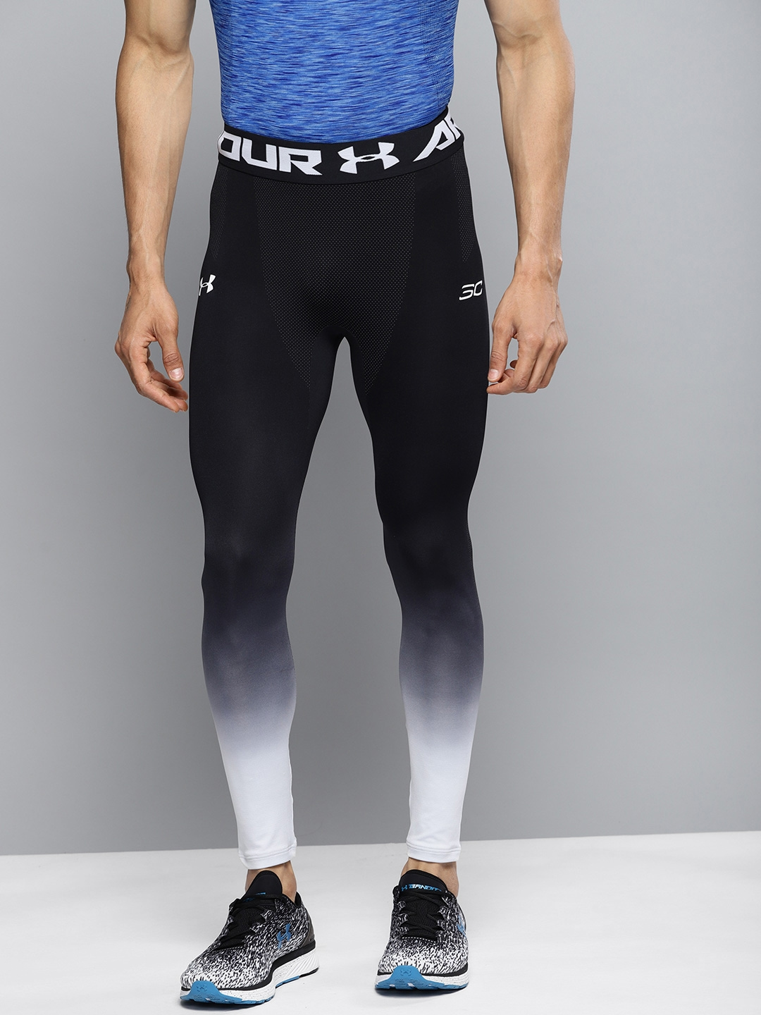 b523134e41 UNDER ARMOUR Stephen Curry 30 Men Black & White Ombre Dyed Seamless  Basketball Tights