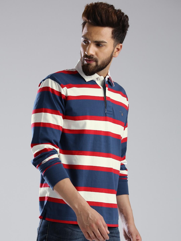 59134edeed Buy GANT Navy & Off White Striped Polo T Shirt - Tshirts for Men ...