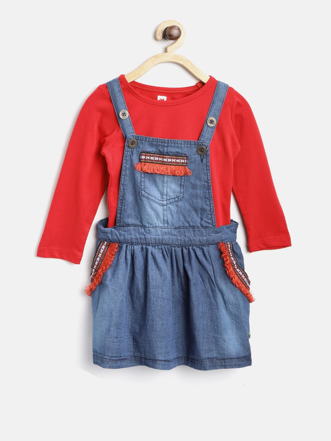 0612292d6da4d 612 league Girls Blue & Red Washed Chambray Pinafore Dress with T-Shirt