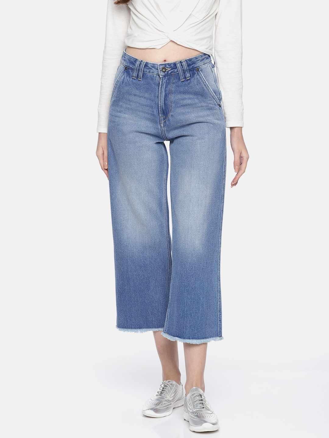 Pepe Jeans Women Blue Jane Regular Fit Faded Denim Culottes