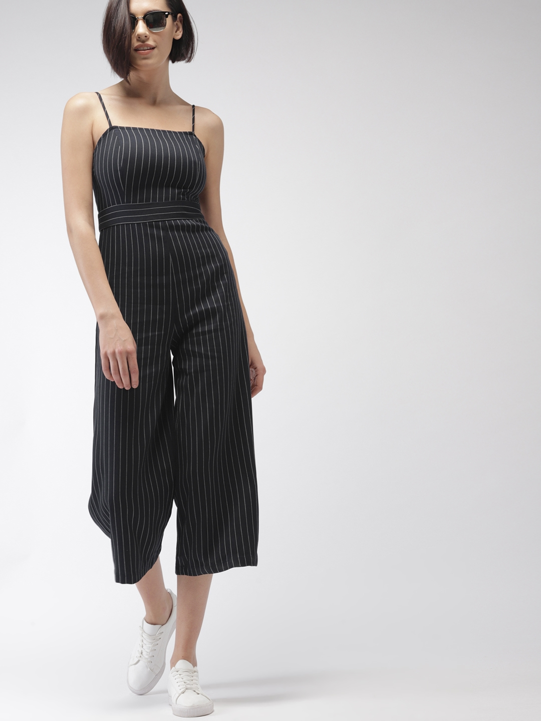 1d467c8072a Buy FOREVER 21 Navy Blue Striped Culotte Jumpsuit - Jumpsuit for ...