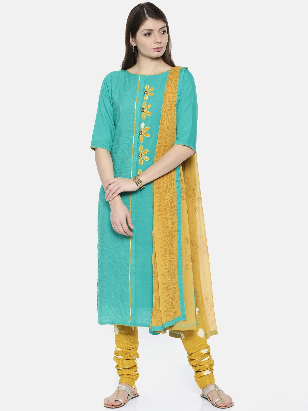 The Chennai Silks Blue & Mustard Yellow Pure Cotton Unstitched Dress  Material