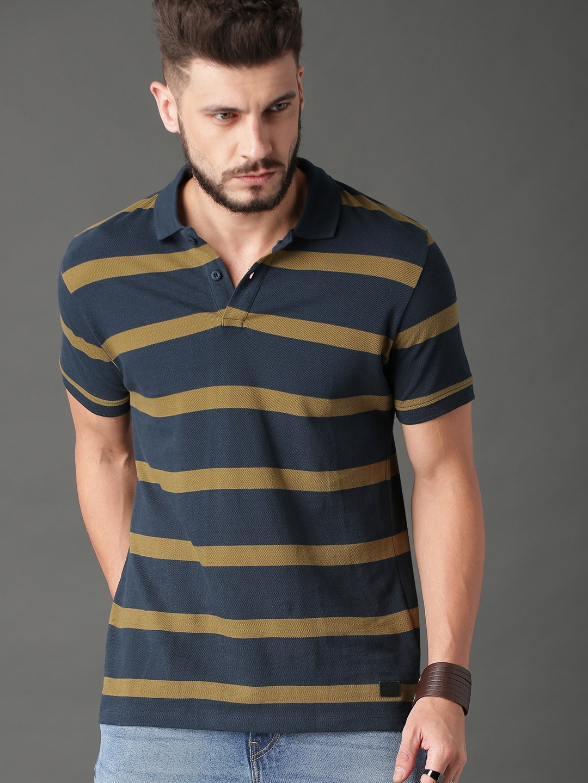 5da3428eb5 Buy Roadster Men Navy Blue & Olive Green Striped Polo Collar T Shirt ...