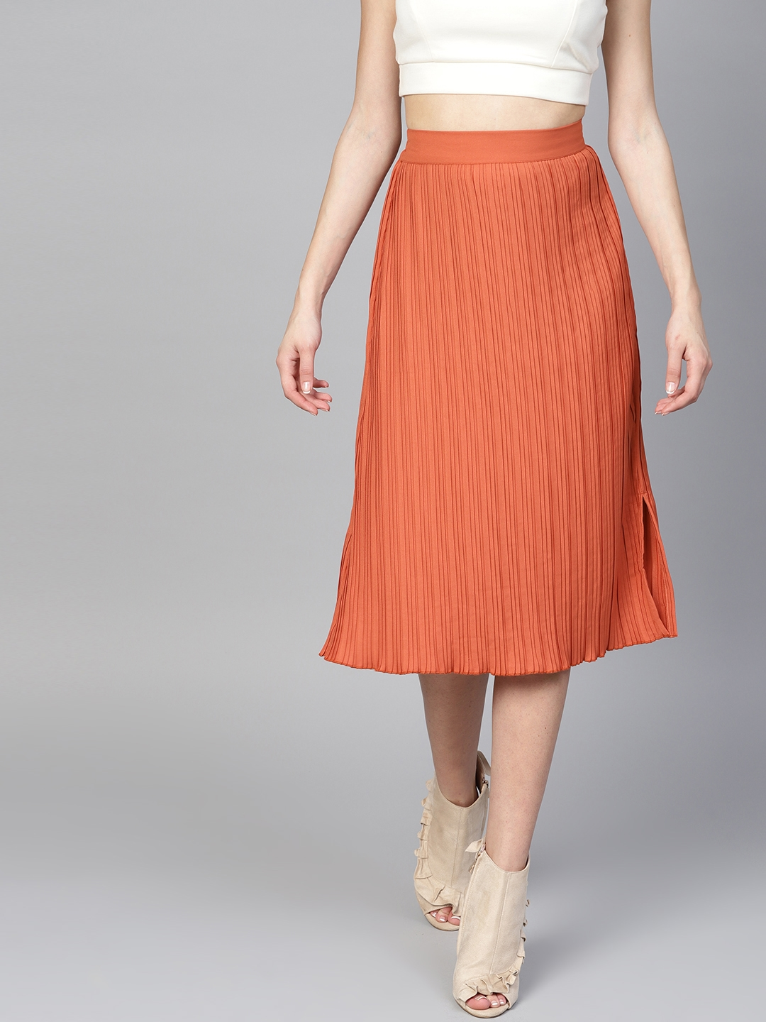 c8ba216cb Buy Athena Women Rust Orange Solid Pleated A Line Skirt - Skirts for ...
