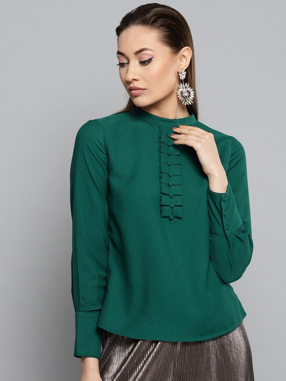 RARE Women Green Solid Top