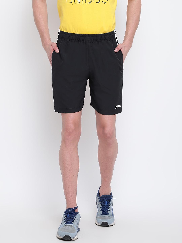 ADIDAS Men Black Solid Regular Fit Sports Shorts
