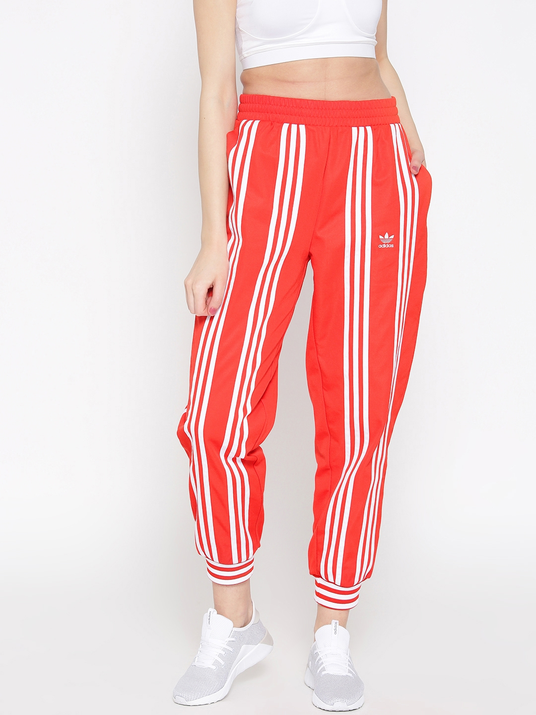 check out 97525 5cc6c ADIDAS ORIGINALS Women Red   White Striped Cropped Joggers