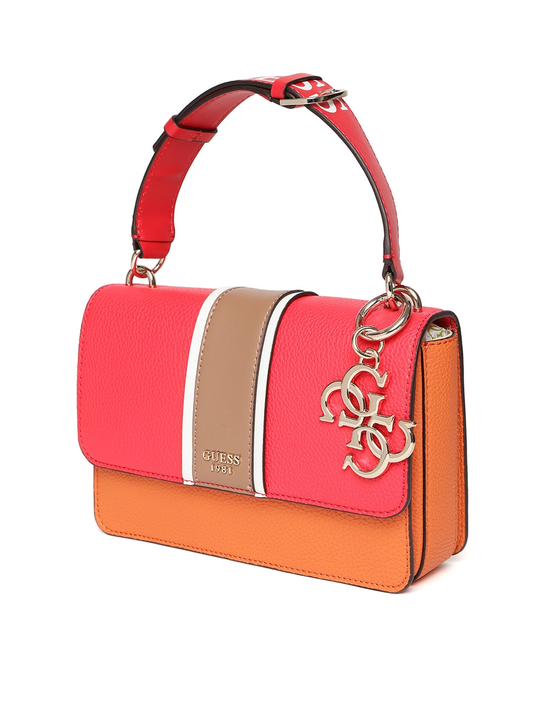 f55d6419070d Buy GUESS Coral Red   Orange Colourblocked Satchel - Handbags for ...