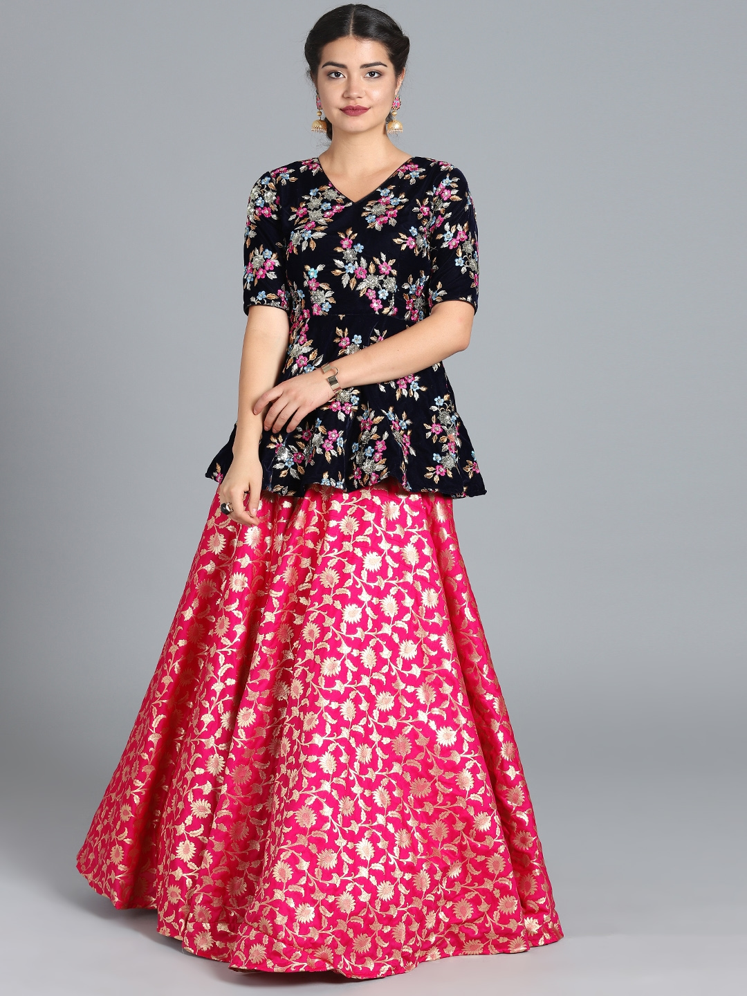327a60732f Bollywood Vogue Women Navy Blue & Pink Embroidered Made-To-Measure Kurti  with Skirt