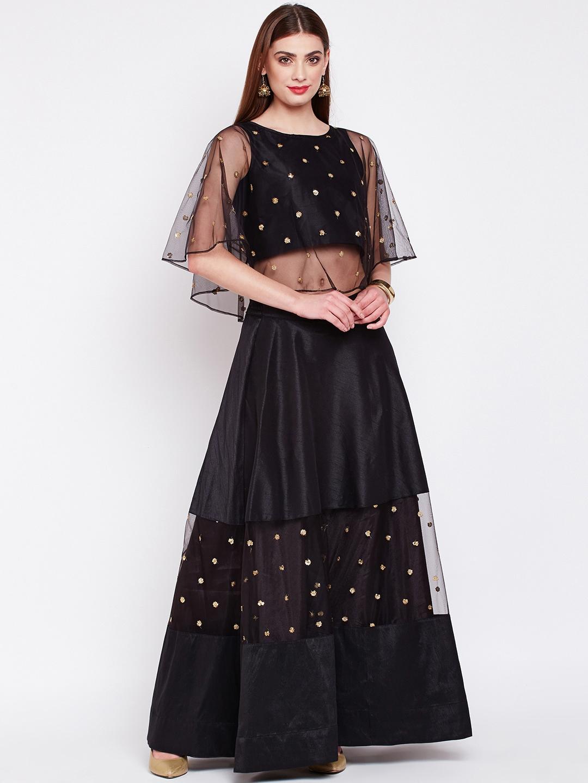 34b38aef06 Buy Studio Rasa Black Embellished Ready To Wear Lehenga With Blouse ...