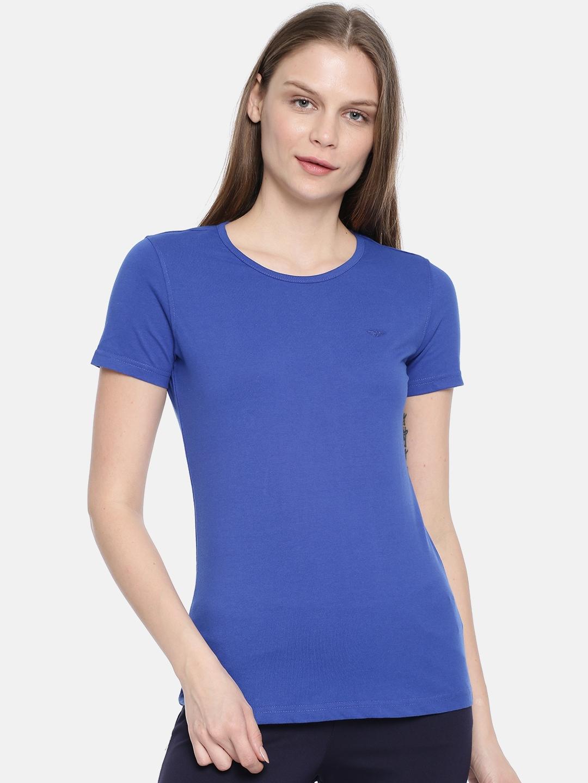 Park Avenue Woman Women Blue Solid Round Neck T shirt