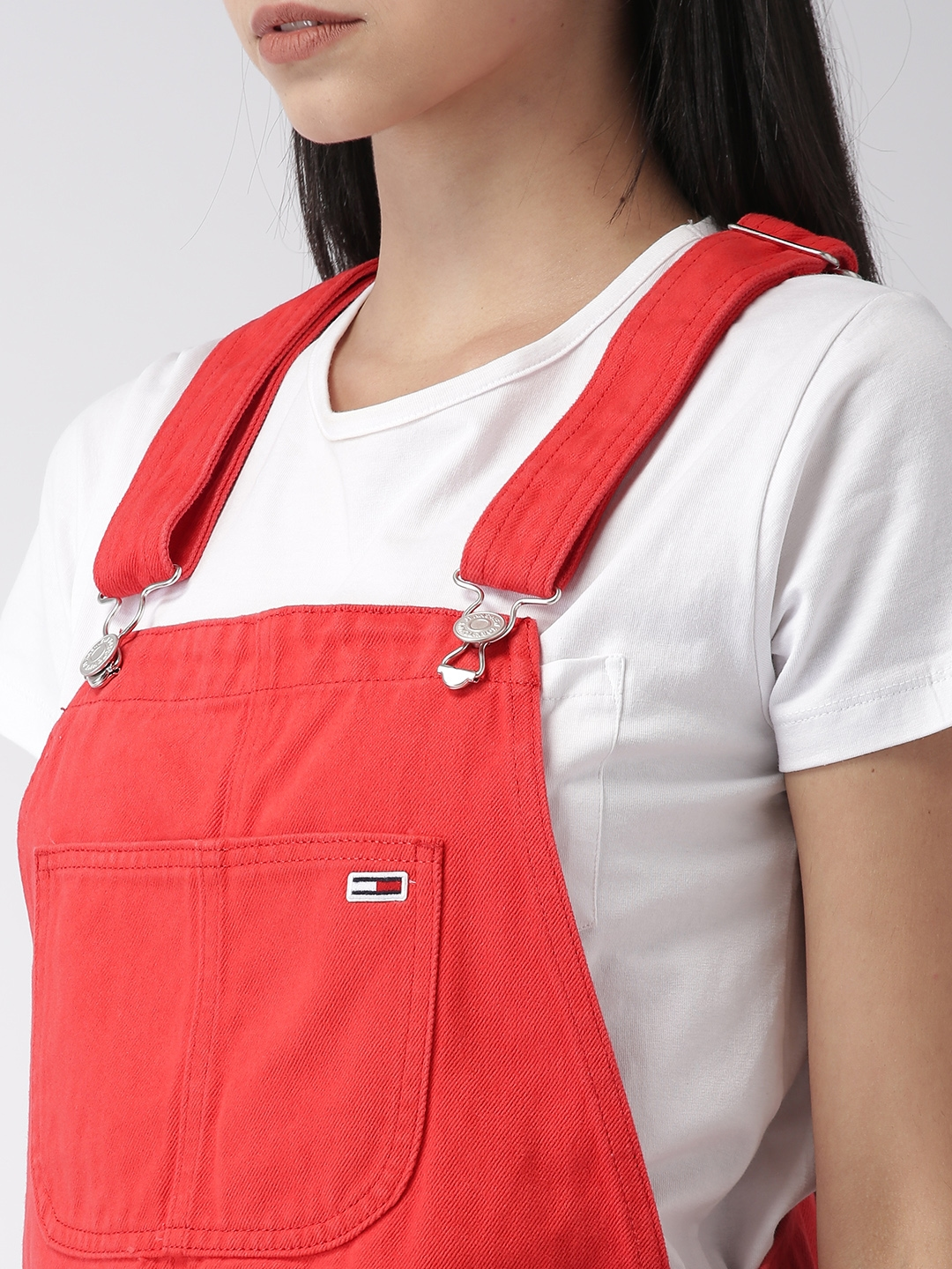 0e7369a1 Buy Tommy Hilfiger Women Red Solid Denim Dungarees - Dungarees for ...