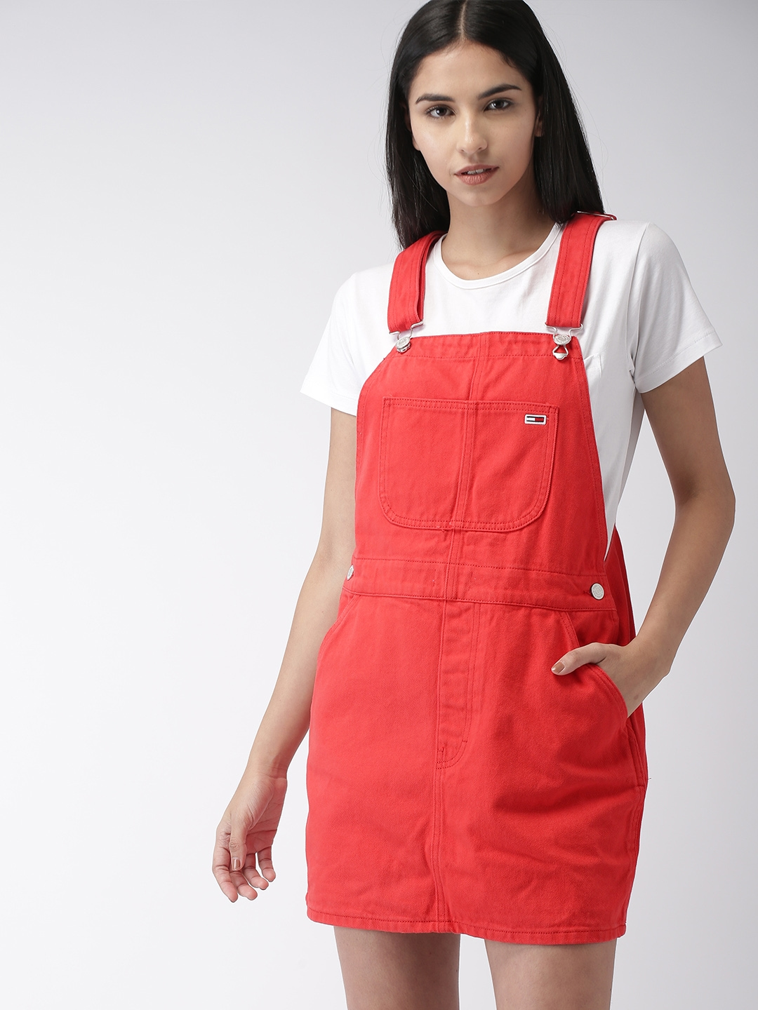 4e03e9982e7 Buy Tommy Hilfiger Women Red Solid Denim Dungarees - Dungarees for ...