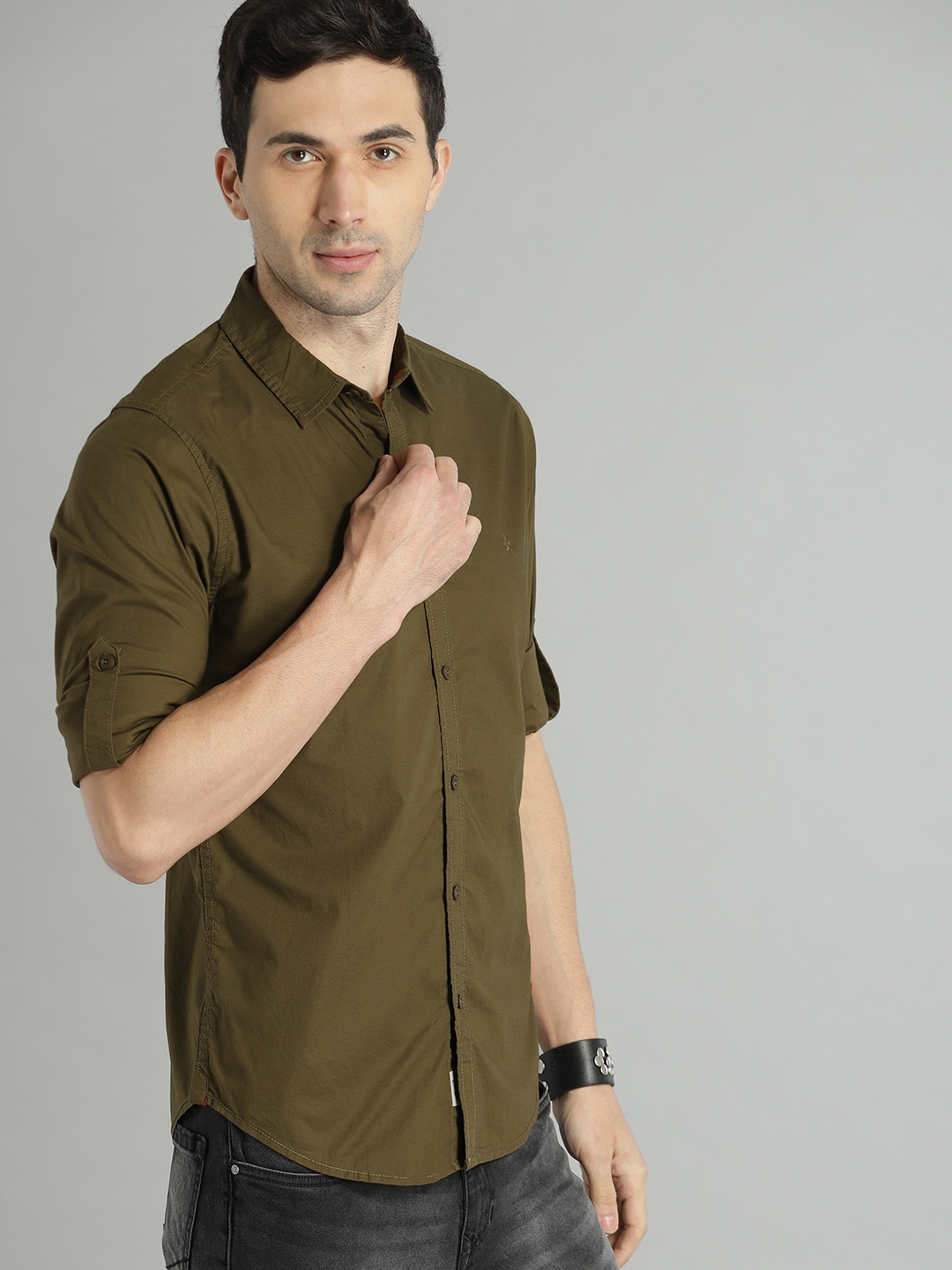 Roadster Men Olive Green Solid Casual Shirt