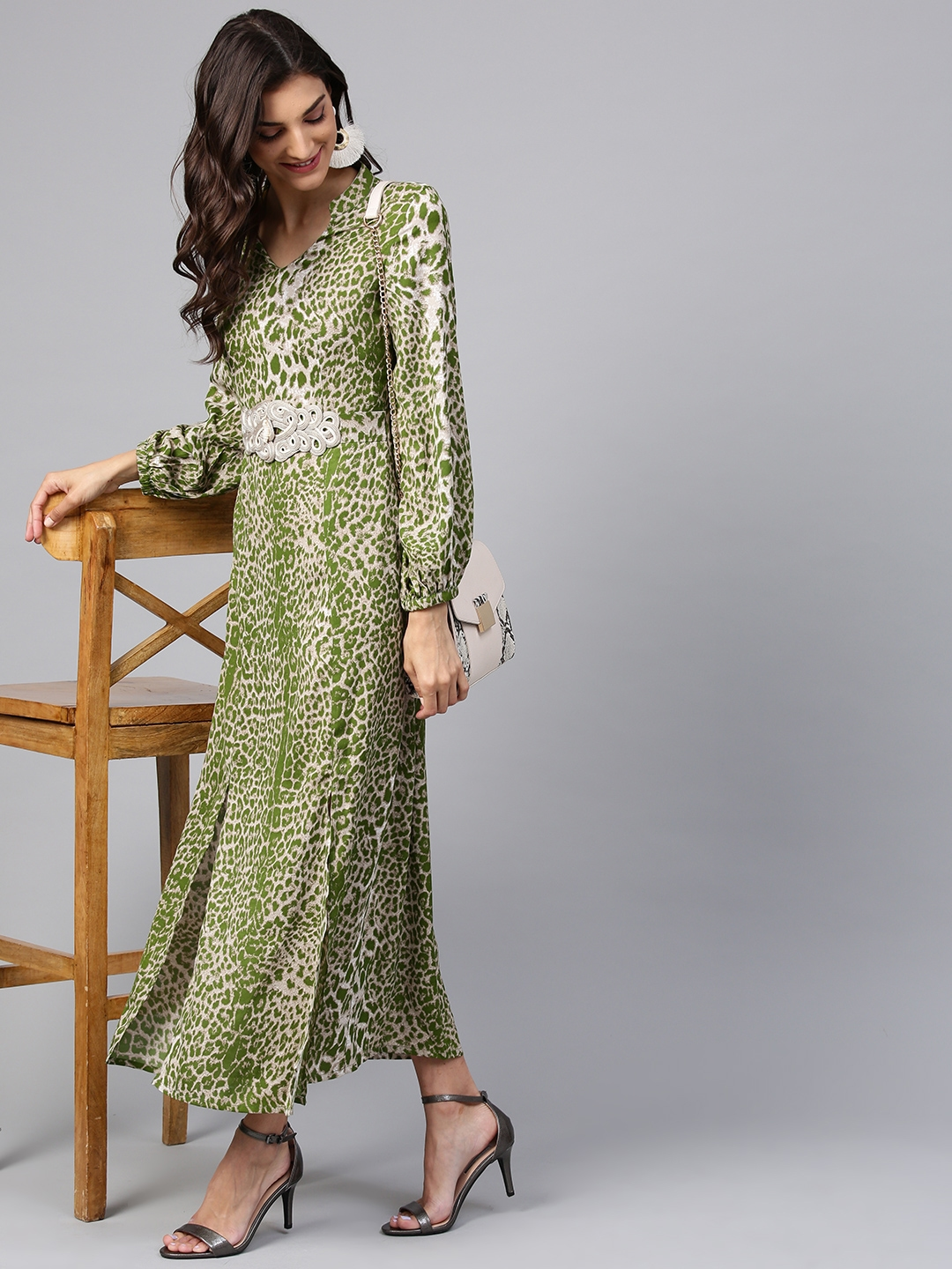 286a979fc3f9 Buy Zima Leto Women Beige   Green Animal Print Maxi Dress - Dresses ...