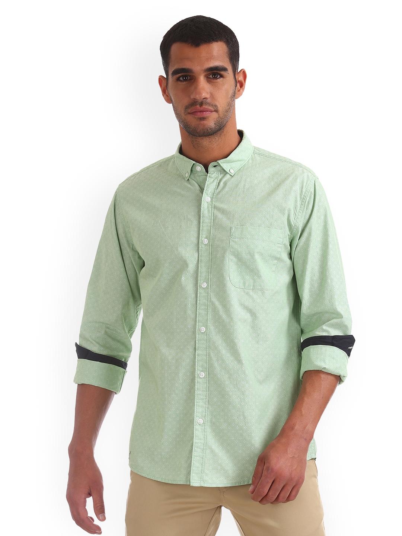 Ruggers Men Green Regular Fit Self Design Casual Shirt