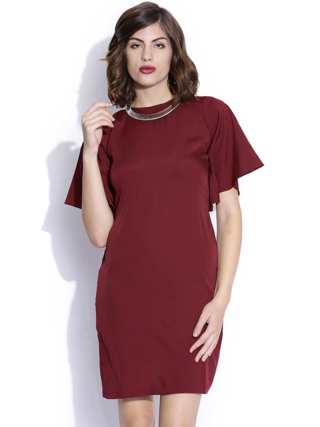 Miss Chase Maroon Tailored Dress