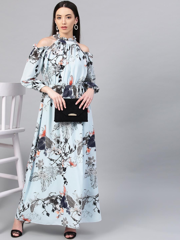 119f8eb130e Buy Athena Women Blue   Black Printed Maxi Dress - Dresses for Women ...