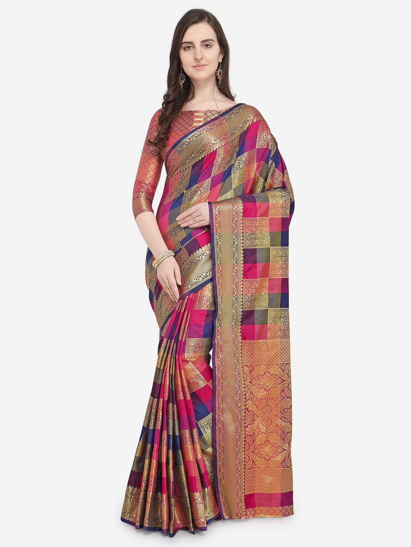 5d6d3d21a15b6d Buy Saree Swarg Pink & Navy Blue Checked Banarasi Saree - Sarees for ...