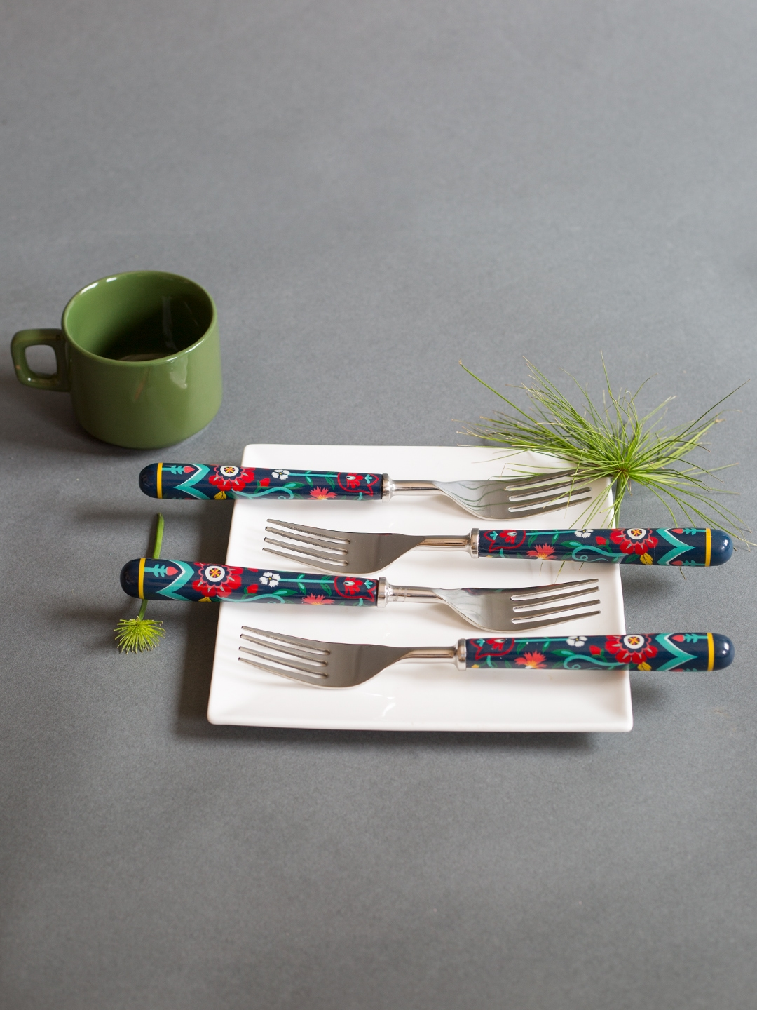 Chumbak Set Of 4 Printed Stainless Steel Forks