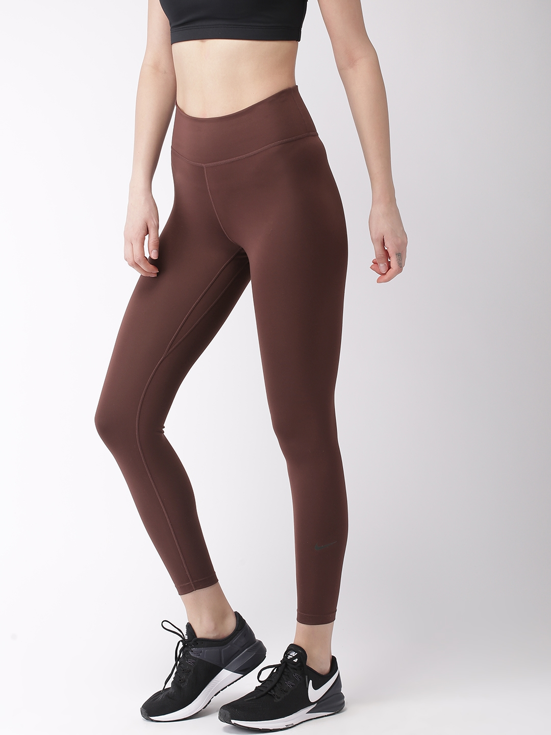 27529009fff4 Nike Women Brown Solid AS W NP The Nike Pro Tight Fit DRI-FIT Training  Tights