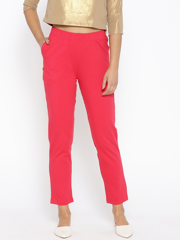 AURELIA Women Pink Regular Fit Solid Trousers