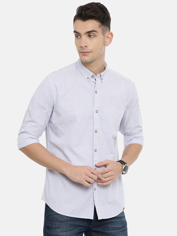 John Players Men Blue   White Trim Fit Striped Casual Shirt