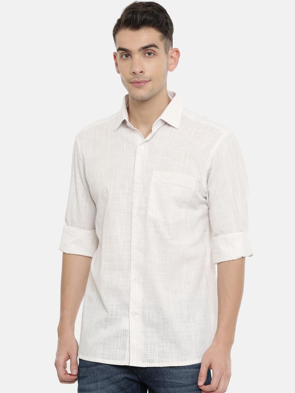 John Players Men White   Beige Regular Fit Striped Casual Shirt