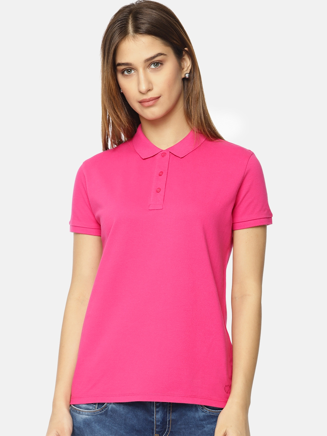 86ea0a78ca Buy Pepe Jeans Women Pink Solid Polo T Shirt - Tshirts for Women ...