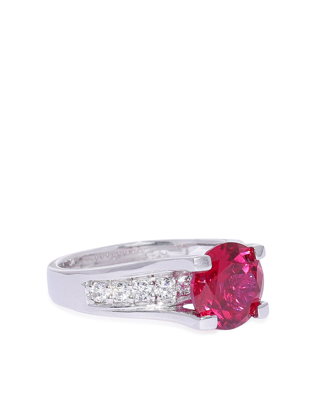 Peora Women 925 Sterling Silver White Gold Rhodium Plated Solitaire Ruby Princess Ring